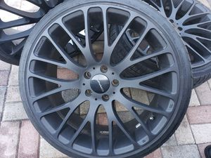 Kmc rims and tires fresh black 20inches 5lugs 245 /35/r20 for Sale in Miami Gardens, FL