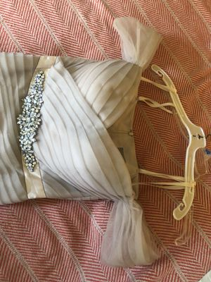 Women's formal dress, nude color, rhinestone belt, fits beautifully, worn once. Perfect for a wedding, maid of honor, God mother. Size 12 Dress by Ma for Sale in Whittier, CA