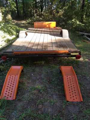I have a 16 foot trailer new deck toolbox and matching colored ramps for Sale in Sweet Home, OR