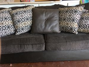 Fabric/Faux leather couch set sofa and loveseat with throw pillows for Sale in Peoria, AZ