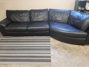 Beautiful real leather black sectional couch for Sale in Renton, WA