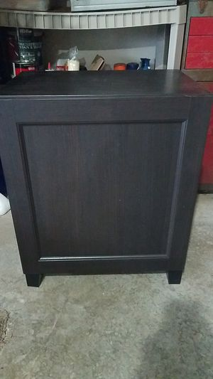 TV stand Ikea black and brown wood with adjustable shelves and hidden storage inside for Sale in Hermitage, TN