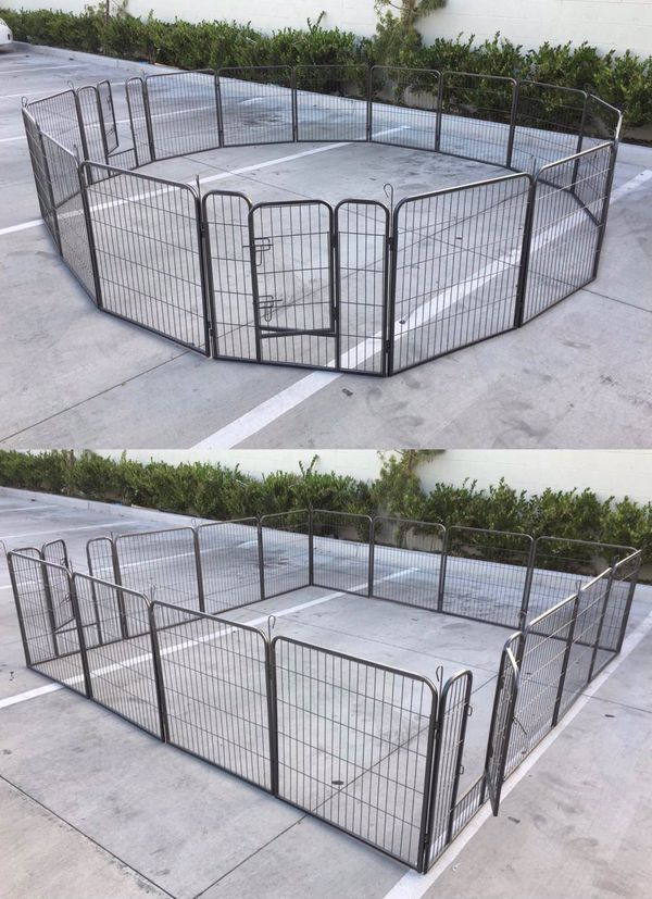 New in box 32 inch tall x 32 inches wide each panel x 16 panels exercise playpen fence safety gate dog cage crate kennel expandable fence perrera cer
