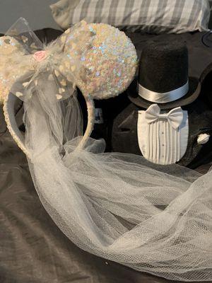 Mickey and Minnie Wedding Ears for Sale in San Bernardino, CA