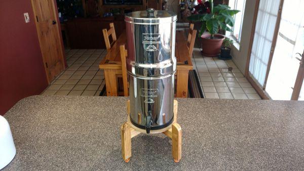 Big Berkey gravity fed water purifier with stand.