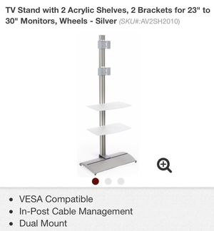 """TV Stand with 2 acrylic shelves 2 brackets for 23"""" to 32"""" monitors, wheels silver for Sale in Nashville, TN"""
