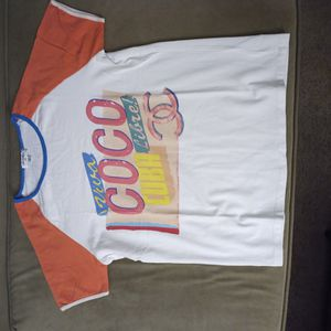 Chanel CoCo Cuba Cruise T-shirt turquoise/coral size S for Sale in Los Altos, CA