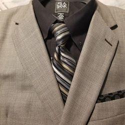 Suit 44S Italian Fabric Ermenegildo Zegna Taupe Made USA Birdseye for Sale in Los Angeles,  CA