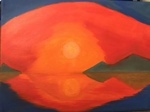 Fiery Sunset Acrylic Painting on 9X12 canvas. for Sale in Washington, DC