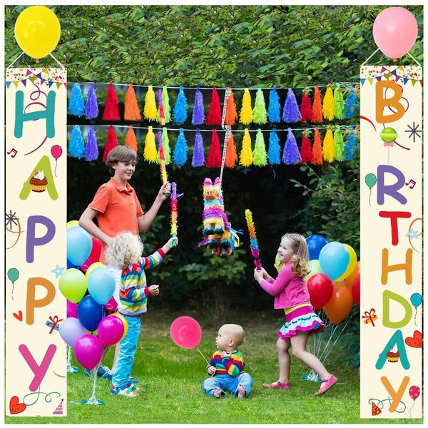 Large Happy Birthday Banner ,Colorful Porch Sign and Macaroon Balloons for Birthday Decorations