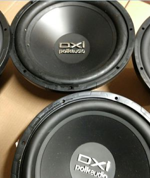 """Polk Audio 12"""" 720W Car Subwoofer Speakers. $19 each. Not working. for Sale in Richardson, TX"""