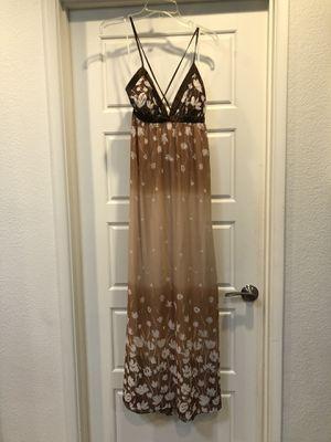Brown tan white flowers maxi dress crisscross tie back size medium for Sale in Tempe, AZ