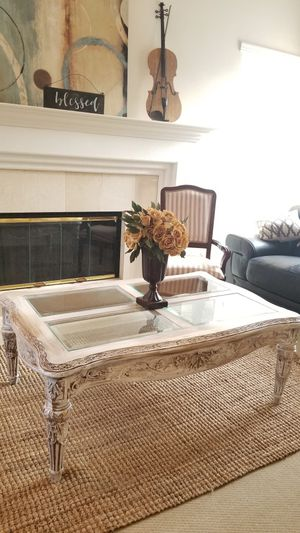 ORNATE CARVED WOOD/COFFEE TABLE W GLASS TOP (MATCHING END TABLES SET ARE AVAILABLE) for Sale in Chino Hills, CA