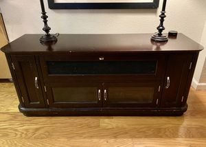 Beautiful Art Deco inspired red mahogany/espresso TV stand for Sale in Sloughhouse, CA