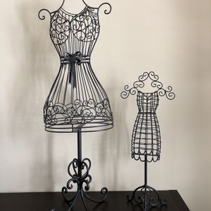 Two decorative black metal dress forms jewelry holders accessory holders girls room for Sale in Snellville, GA
