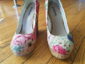 Soda women's size 7 floral wedge heels for Sale in Portland, OR
