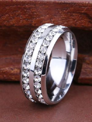 Brand new mens High Polish silver Titanium Solid Stainless Steel genuine White Sapphire Engagement ring Wedding band or Everyday ring Many Sizes for Sale in New Port Richey, FL