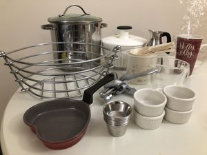 Pots, pans, mugs, salad spinner, measuring cups, bowls, plates, spatula - kitchen tools for cooking for Sale in Washington, DC