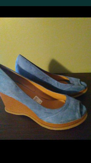 Blue peep toe wedges for Sale in Springfield, MA