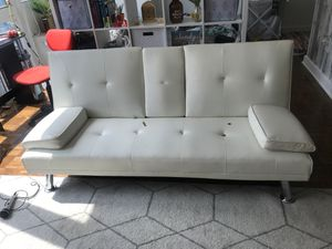 All White Leather Futon/Couch for Sale in Brooklyn, NY