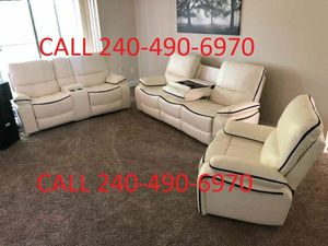 New in stock no credit needed white recliner sofa loveseat chair 3pc set for Sale in College Park, MD