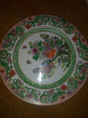 Porcelain Qing Dynasty Plate Chinese Famille Verte Chickens Hand Painted for Sale in Clarksville, TN