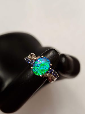Sterling Silver Simulated Green Opal, Created Ceylon Sapphire & Moissanite Stones Size 6.5 for Sale in Auburn, WA