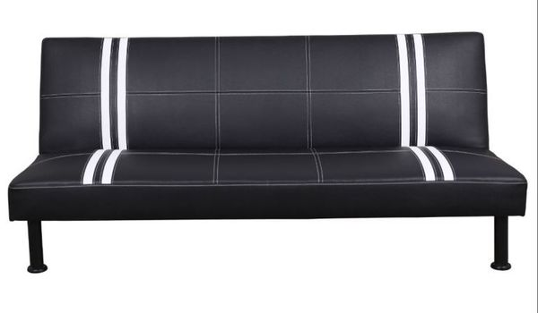Brand New Black Striped Leather Tufted Futon Free Delivery