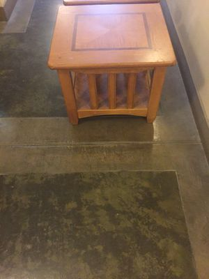 One end table solid oak top is 1.5 inches thick very heavy for Sale in Austin, TX