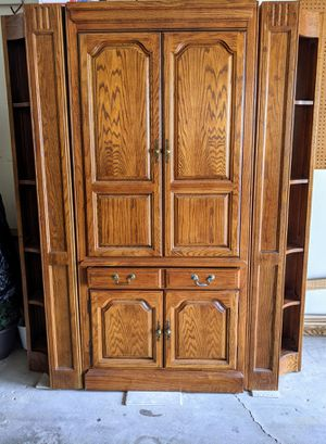 Solid Oak Cabinet with Corner Bookcases (For Home Office, Media Center, or Bar) for Sale in Addison, IL