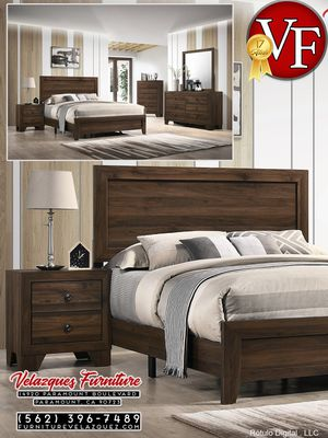 **SELLING QUICK** 4PCS MILLIE BEDROOM SET BED+DRESSER+NIGHTSTAND+MIRROR (mattress not included) $398 for Sale in Pico Rivera, CA
