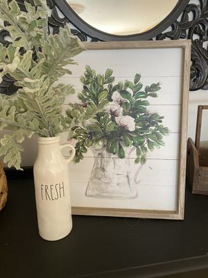 Framed picture, vase and stems for Sale in Stanwood, WA