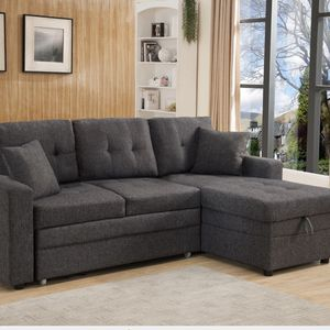 Pull Out Linen Fabric Sectional Sofa Bed W/Storage Chaise for Sale in Pomona, CA