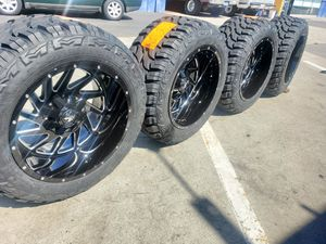 WHEELS 20X12 AND TIRES 33X12.50R20 BRAND NEW SILVERADO F150 $1590 SET OF FOUR BEST PRICE ON TOWN for Sale in Anaheim, CA
