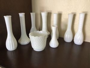 8 Milk Glass Flower or Candle vases and 1 short vase. Mixed lot for Sale in Gilbert, AZ