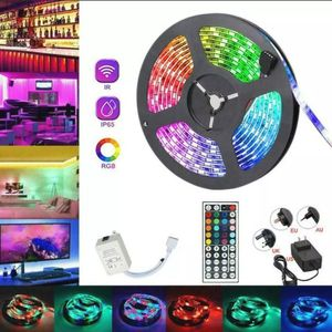 Waterproof 5M 16.4 ft LED Strip Light SMD 5050 RGB+44Key Remote Controller+Power for Sale in Fontana, CA