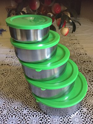Stainless steel storage containers set of 5 for Sale in El Cajon, CA