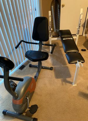 Marcy Recumbent Exercise Bike & Bench press for Sale in Tacoma, WA