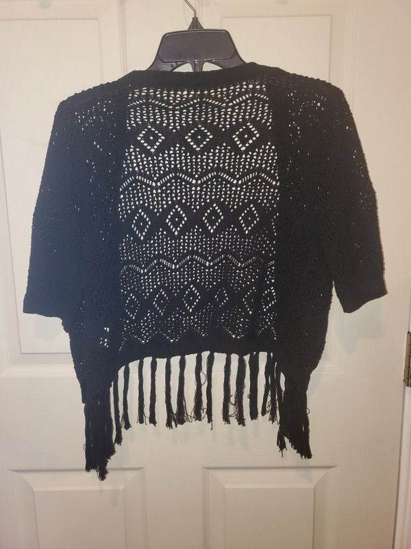 Lacey See Through Black Cover-up with Fringe