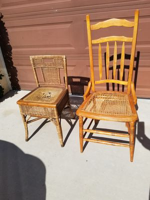 Antique wooden wicker chairs for Sale in Beaumont, CA