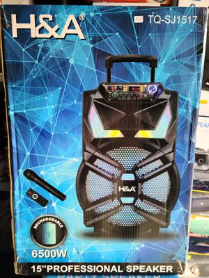 """New H&A 15"""" rechargeable Bluetooth 6,500 watts, fm radio, usb, sd, tf card, remote control, wireless mic, trolley and wheels for Sale in Riverside, CA"""
