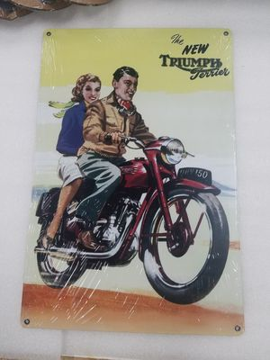 Triumph motorcycle ad aluminum metal sign for Sale in Vancouver, WA