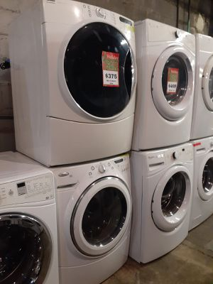 Mix and match front load washer and gas dryer set working perfectly with 4 months warranty for Sale in Baltimore, MD