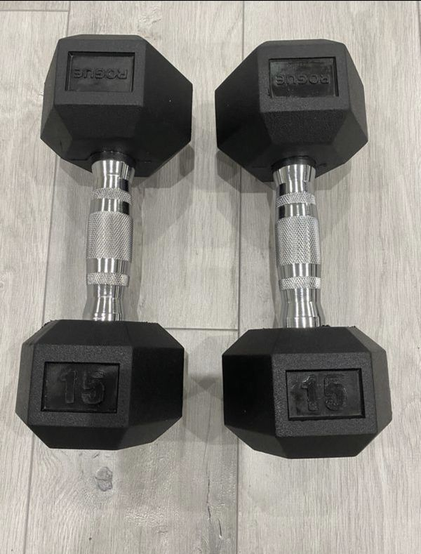 Rogue new 15 lb pair of Rubber hex dumbbells