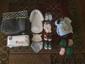 Newborn lot - diapers diaper bag shoes mittens socks - great gift Lot for Sale in Bakersfield, CA