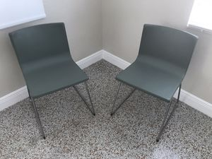 2 new green IKEA Bernhard dinning room kitchen chrome plated durable grain leather chairs MAKE OFFER for Sale in Oakland Park, FL