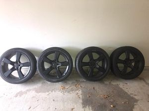 """20"""" black Camaro rims with fairly good used tires, 245/45R20 for Sale in Fort Worth, TX"""