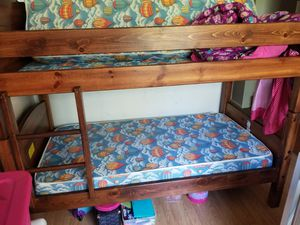 Wood bunk bed with stairs/Mattresses for Sale in Salt Lake City, UT