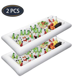 2 PCS Inflatable Serving Bars Ice Buffet Salad Serving Trays Food Drink Holder Cooler Containers Indoor Outdoor BBQ Picnic Pool Party Supplies Luau C for Sale in Barre, VT