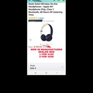 NEW MANUFACTURER SEALED-BEATS by Dre SOLO 3 WIRELESS-1 for $150, 2 for $250 for Sale in Cleveland, OH